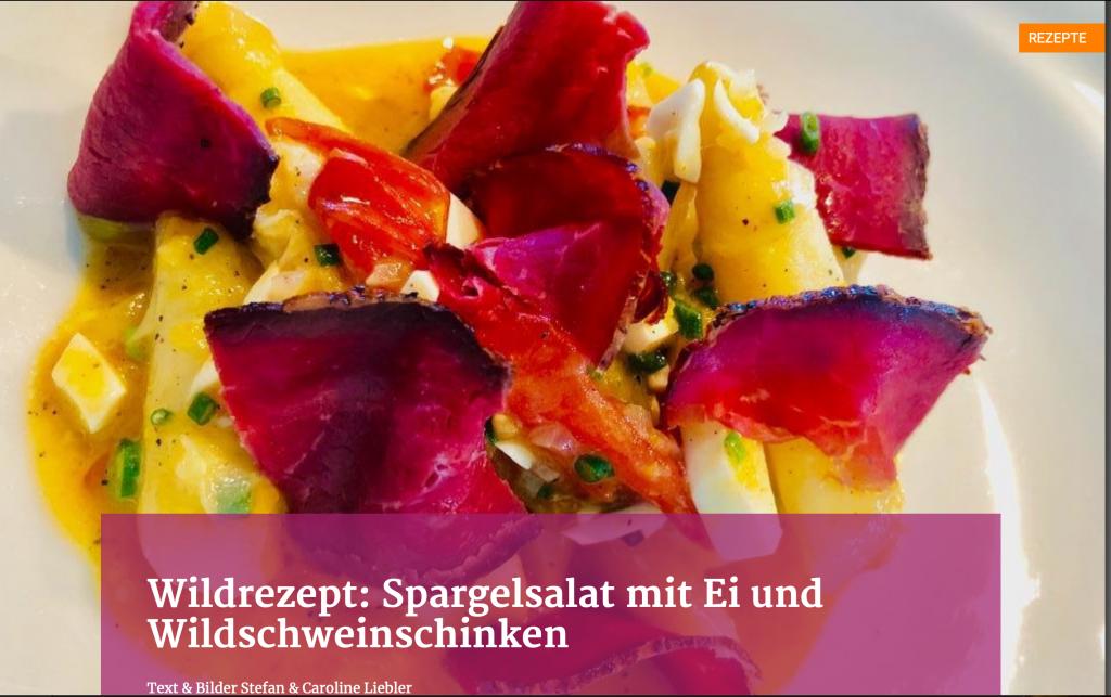 Wildrezept: Spargelsalat mit Ei und Wildschweinschinken