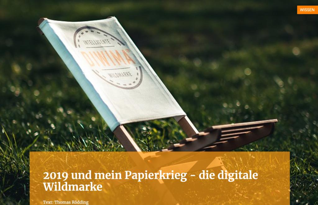2019 und mein Papierkrieg - die digitale Wildmarke