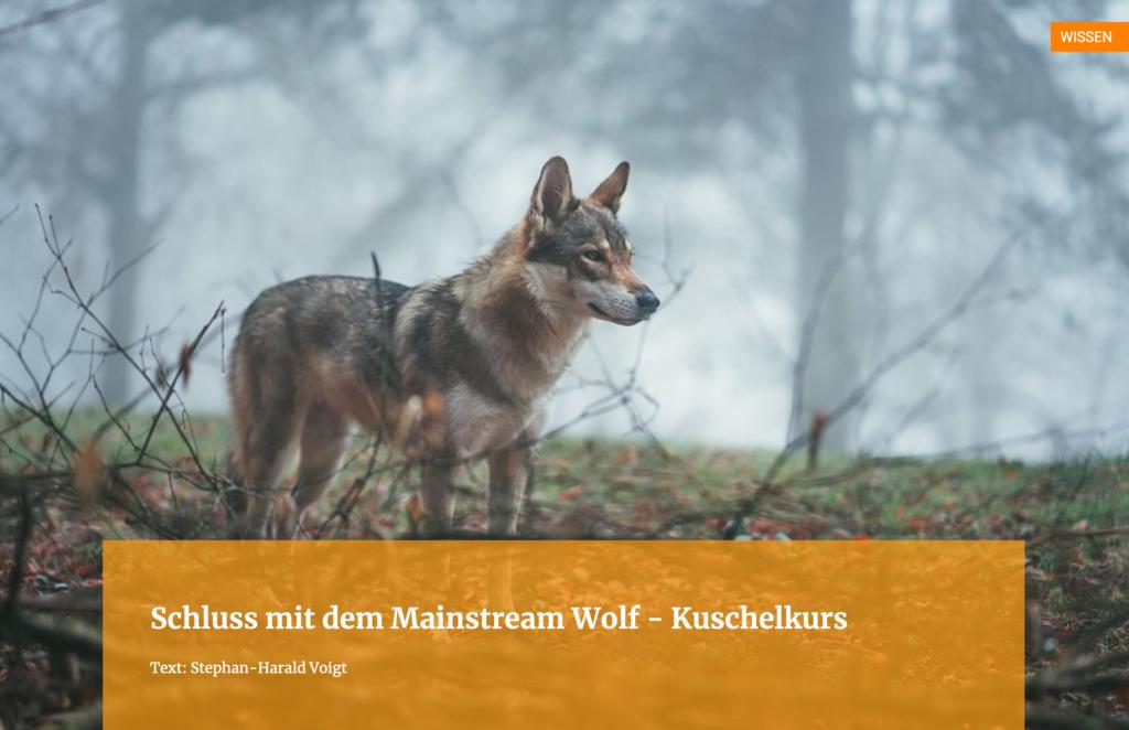Schluss mit dem Mainstream Wolf - Kuschelkurs