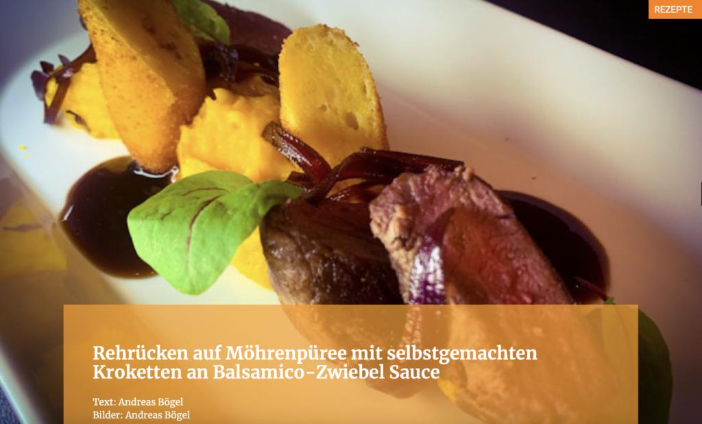 Rehrücken auf Möhrenpüree mit selbstgemachten Kroketten an Balsamico-Zwiebel Sauce